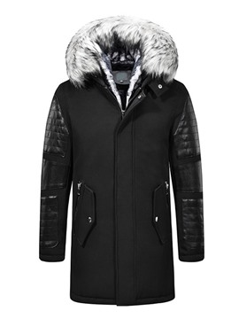 Ericdress Hooded Mid-Length Patchwork Zipper European Down Jacket