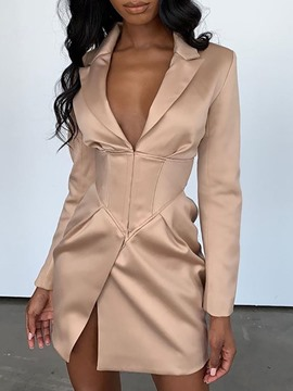 Ericdress Above Knee Long Sleeve Split Mid Waist A-Line Dress