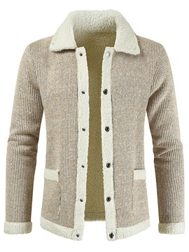 Ericdress Standard Lapel Patchwork Men's Coat Slim Sweater