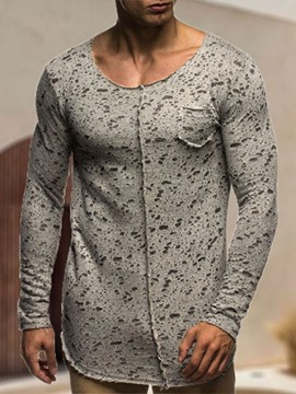 Ericdress Print Round Neck European Lace-Up Men's Slim T-shirt
