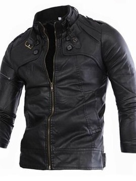 Ericdress Standard Stand Collar Plain Slim European Leather Jacket