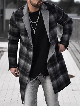Ericdress Plaid Mid-Length European Men's Coat