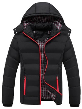 Ericdress Stand Collar Color Block Standard Zipper Casual Down Jacket