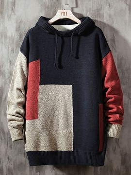 Ericdress Color Block Standard Hooded Casual Loose Sweater