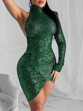 Ericdress Turtleneck Sequins Long Sleeve Plain Pullover Dress
