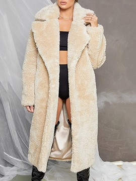Ericdress Lapel Plain Long Straight Winter Faux Fur Overcoat
