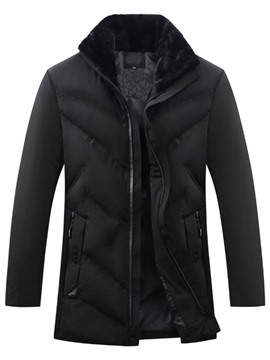 Ericdress Plain Stand Collar Standard Casual Zipper Down Jacket