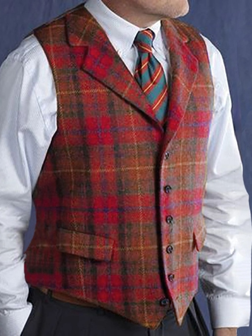 Ericdress Button Notched Lapel Plaid Casual Single-Breasted Waistcoat