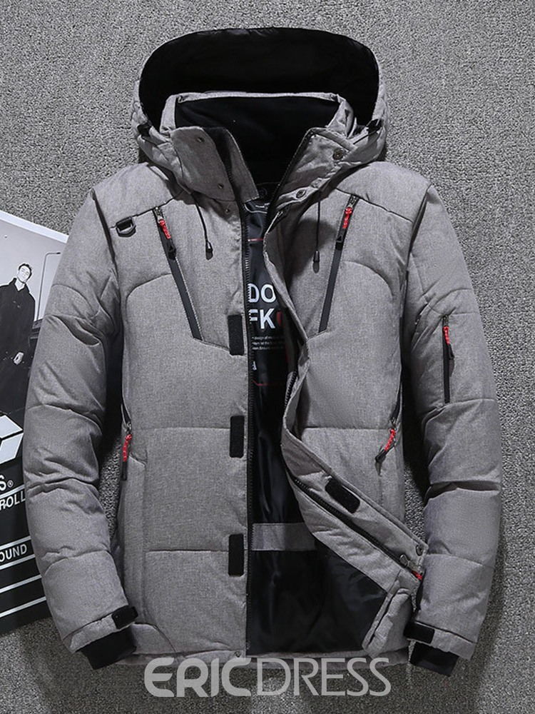 Ericdress Patchwork Stand Collar Standard Zipper Casual Down Jacket