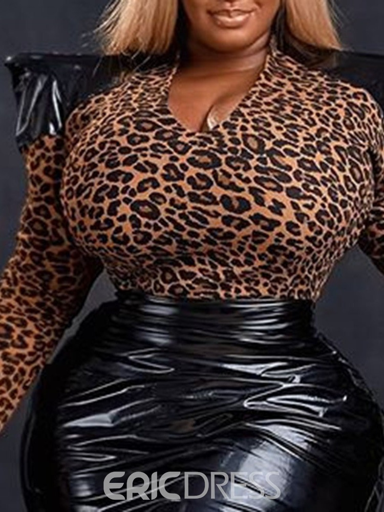 Ericdress Plus Size Leopard Office Lady Skirt Pullover Bodycon Two Piece Sets