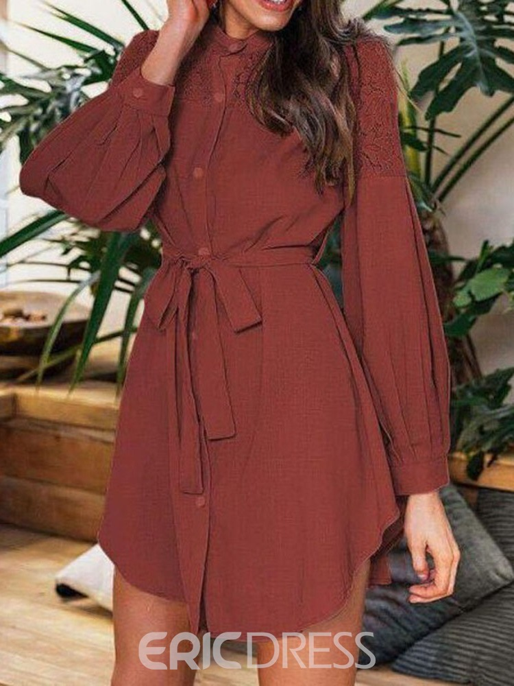 Ericdress Long Sleeve Above Knee Round Neck Single-Breasted Mid Waist Dress