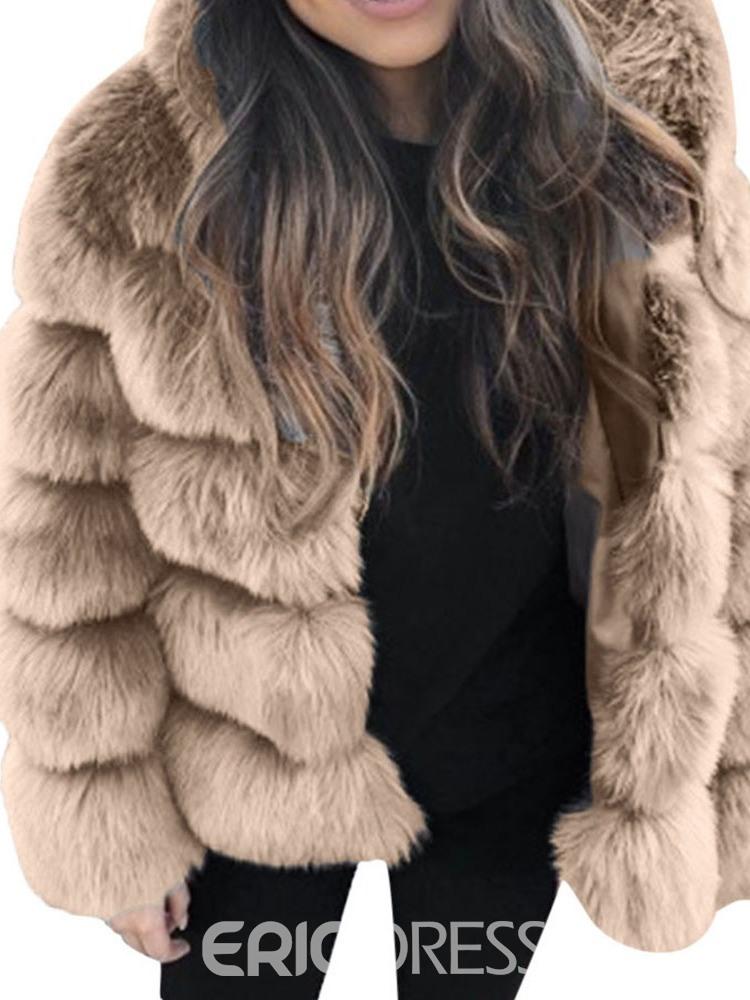 Ericdress Plain Mid-Length Winter Straight Faux Fur Overcoat