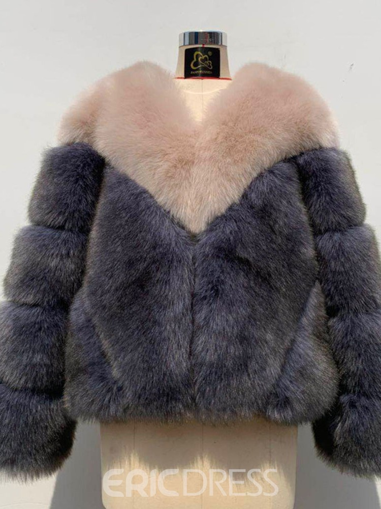 Ericdress Standard Color Block Wrapped Straight Faux Fur Overcoat