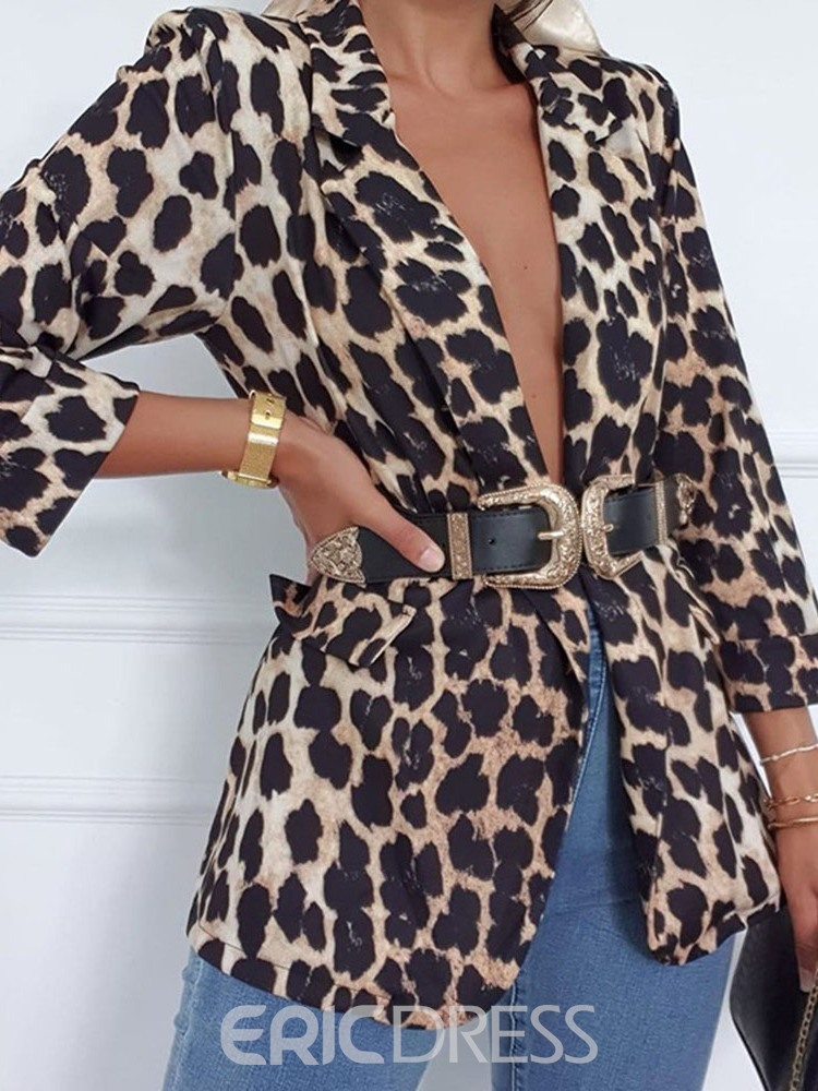 Ericdress Leopard Long Sleeve Notched Lapel Fall Regular Casual Blazer