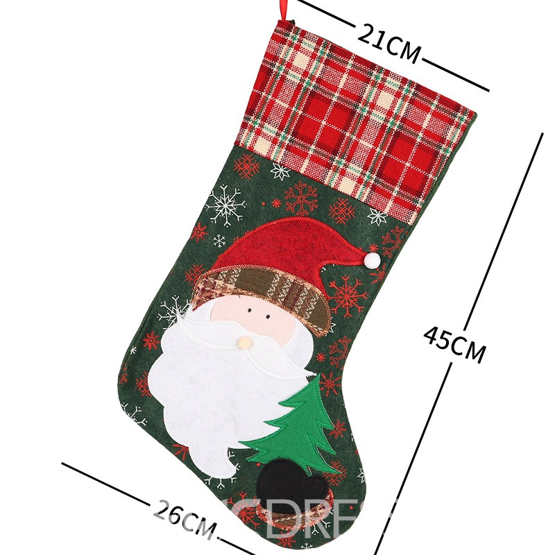Ericdress Socks Color Block Christmas Decoration Supplies