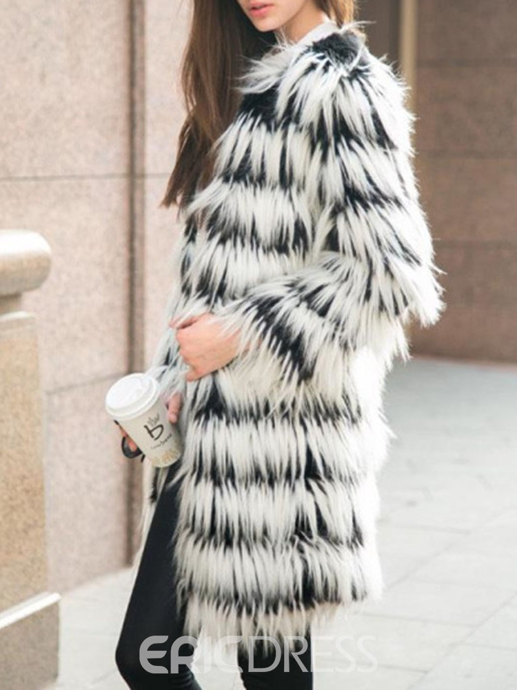 Ericdress Regular Mid-Length Thick Slim Faux Fur Overcoat