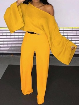 Ericdress Pants Fashion Plain Pullover Straight Two Piece Sets