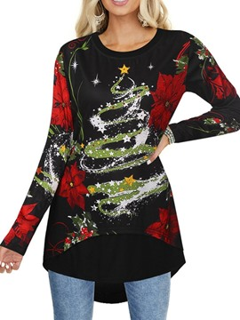 Ericdress Long Sleeve Floral Standard Fall Slim T-Shirt
