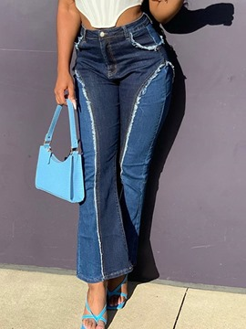 Ericdress Pocket Color Block Bellbottoms Zipper Slim Jeans