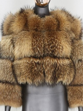 Ericdress Round Neck Regular Standard Straight Winter Faux Fur Overcoat