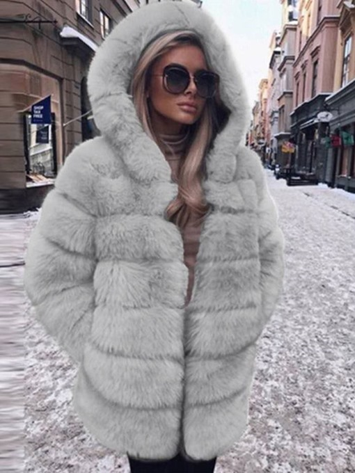 Ericdress Plain Regular Hooded Straight Winter Faux Fur Overcoat