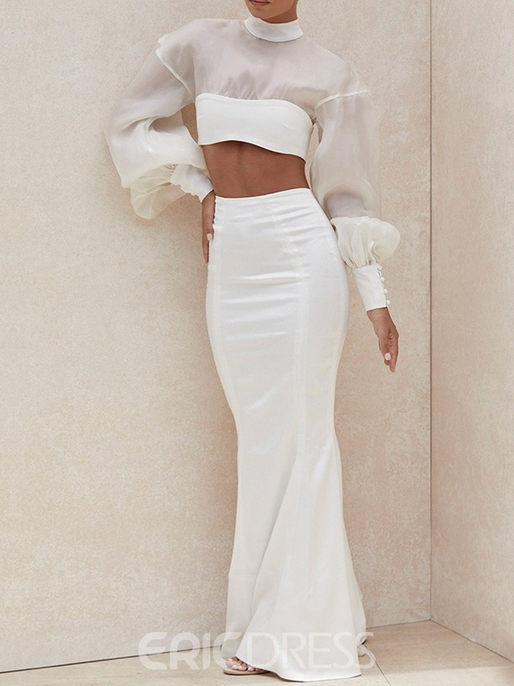 Ericdress Mesh Skirt Fashion Mermaid Pullover Two Piece Sets