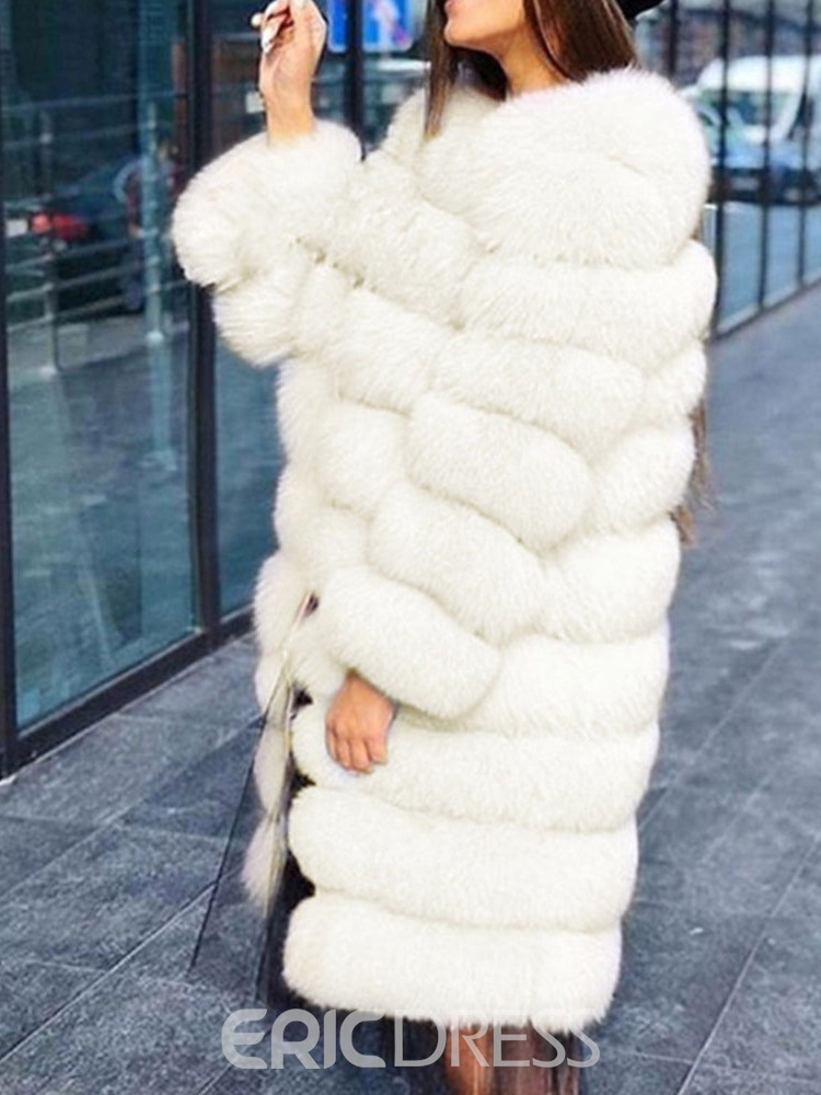Ericdress Plain Mid-Length Round Neck Thick Straight Faux Fur Overcoat