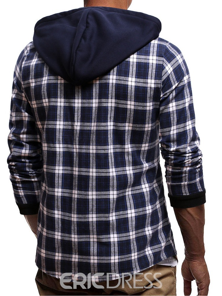 Ericdress European Hooded Plaid Single-Breasted Loose Shirt