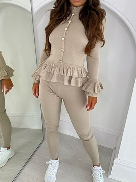 Ericdress Button Plain Sweater Bleistifthose zweiteilige Sets