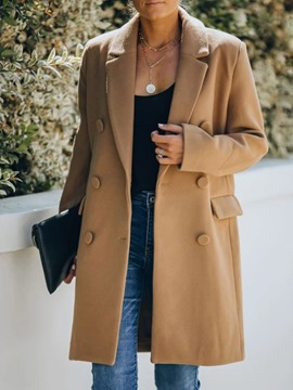 Ericdress Double-Breasted Button Loose Mid-Length Notched Lapel Overcoat