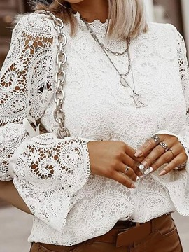 Ericdress Lace Stand Collar Plain Standard Long Sleeve Blouse