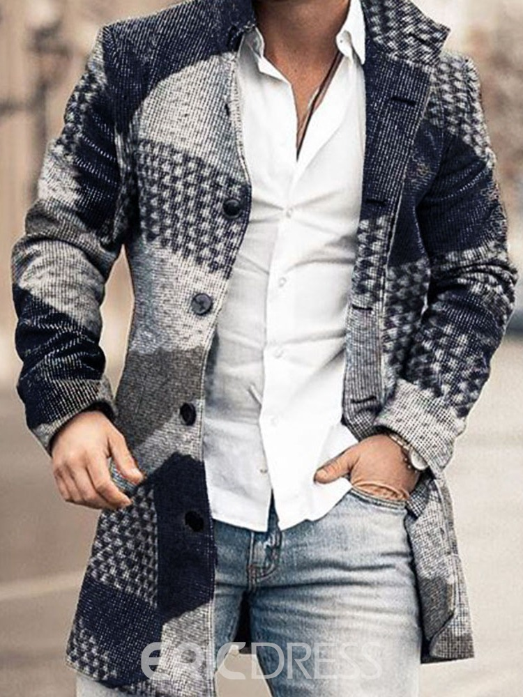 Ericdress Print Mid-Length Color Block Single-Breasted Straight Men's Coat