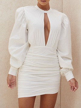 Ericdress Pleated Long Sleeve Round Neck Pullover Puff Sleeve Dress