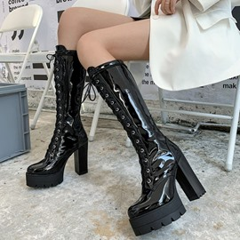 Ericdress Round Toe Chunky Heel Lace-Up Front Professional Boots