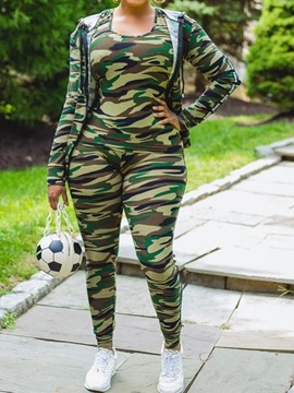 Ericdress Jacket Sports Camouflage Zipper Pencil Pants Two Piece Sets
