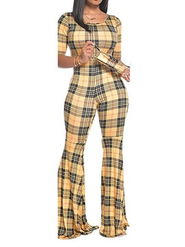 Ericdress Casual Full Length Color Block Bellbottoms Slim Jumpsuit