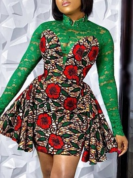 Ericdress Stand Collar Patchwork Above Knee Regular Floral Dress