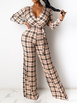 Ericdress Full Length Lace-Up Plaid Straight Slim Jumpsuit