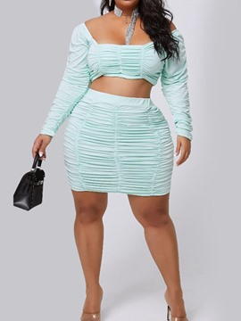 Ericdress Sexy T-Shirt Plain Pullover Bodycon Two Piece Sets