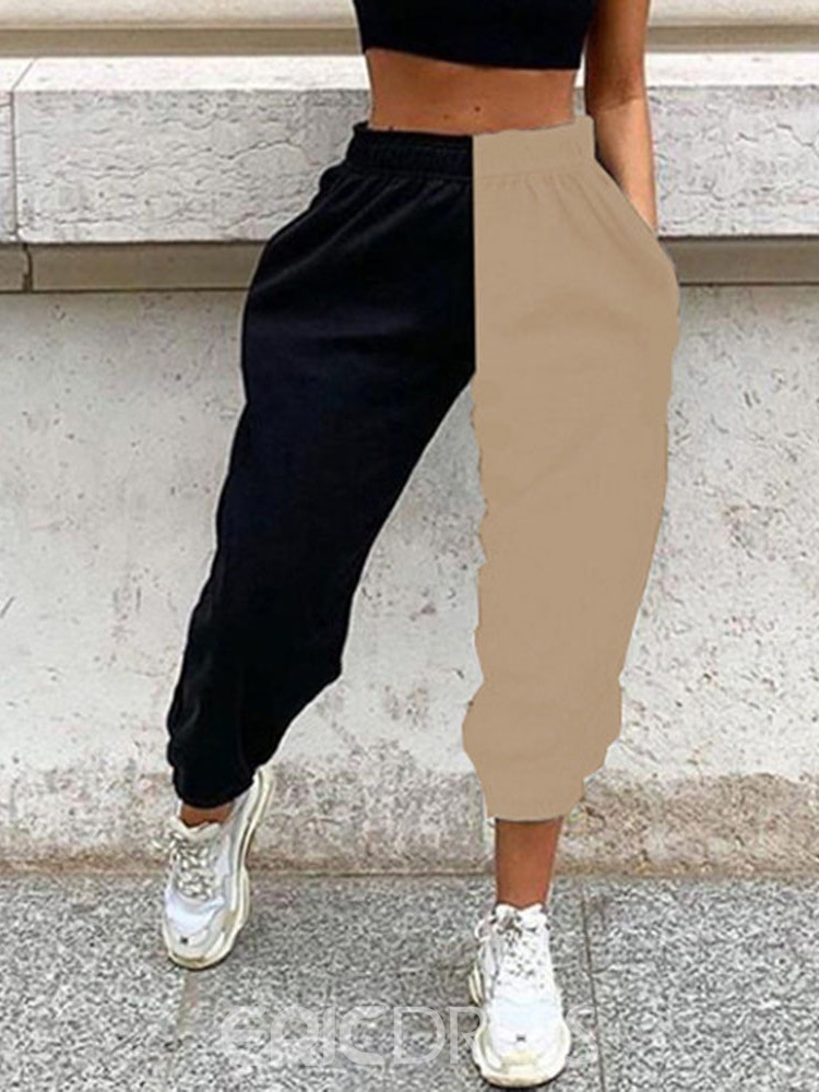 Ericdress Pocket Color Block Loose Ankle Length Pencil Pants Casual Pants