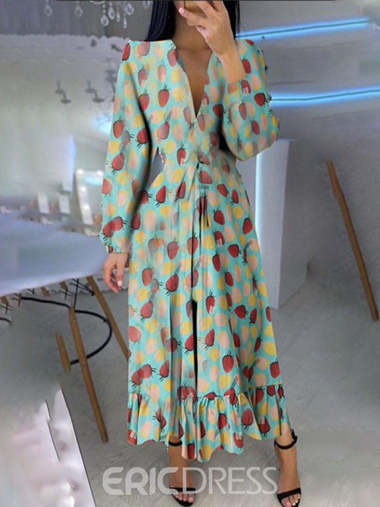 Ericdress V-Neck Long Sleeve Ankle-Length Pullover Party/Cocktail Dress