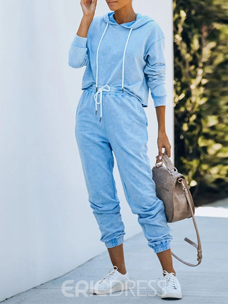 Ericdress Cotton Blends With Hood Solid Full Length Long Sleeve Clothing Sets