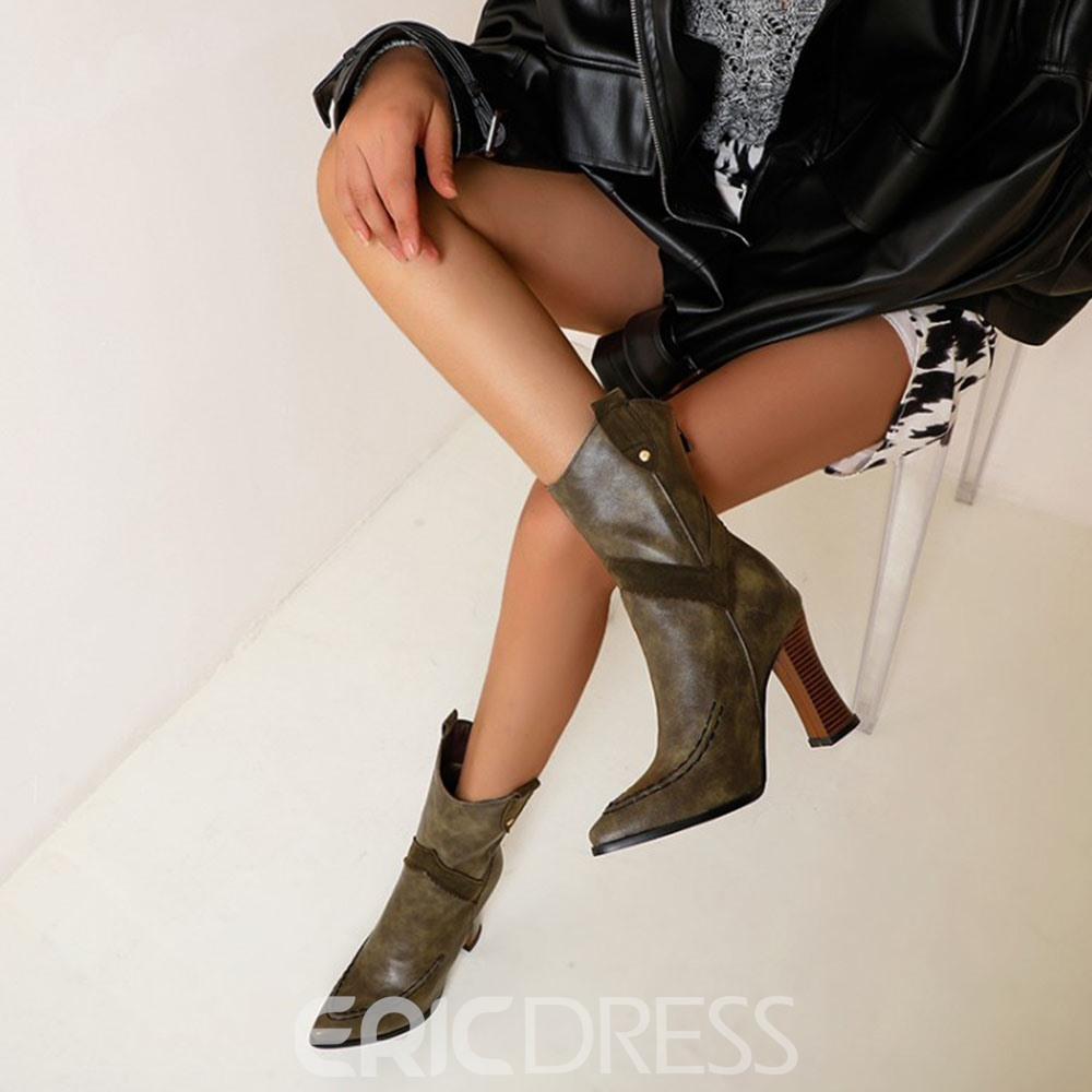 Ericdress Plain Back Zip Pointed Toe OL Boots