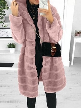 Ericdress Hooded Plain Mid-Length Loose Faux Fur Slim Overcoat