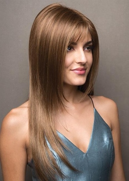 Ericdress Women's Long Length Slik Straight Human Hair Lace Front Wigs 24Inch