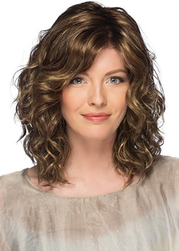 Ericdress Mid-Length Style Women's Layered Waves Curly Synthetic Hair Capless Wigs 18Inch