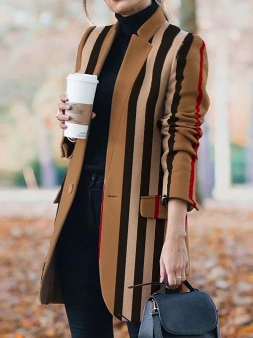 Ericdress One Button Slim Pocket Mid-Length Fall Overcoat