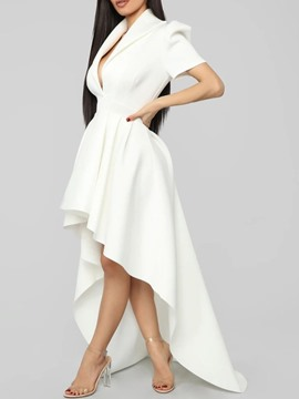 Ericdress Floor-Length Asymmetric Lapel Summer Puff Sleeve Dress