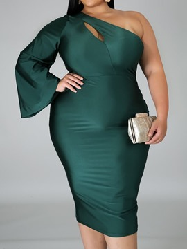 Ericdress Oblique Collar Asymmetric Mid-Calf Plus Size Plain Dress