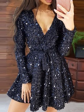 Ericdress V-Neck Sequins Long Sleeve Spring Regular Dress